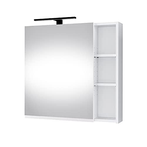 Planetmöbel moderner Badezimmer Spiegelschrank mit integriertem Licht, Spiegeltüren, Stauraum und Steckdose in Weiß