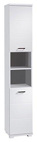 HOMEXPERTS Badezimmer Hochschrank NUSA in Weiß, Hochglanz weiß lackiert / schmaler Badschrank mit 2 Türen und 2 offenen Fächern für viel Stauraum / 35.5 x 31.5 x 192 cm (B x T x H)