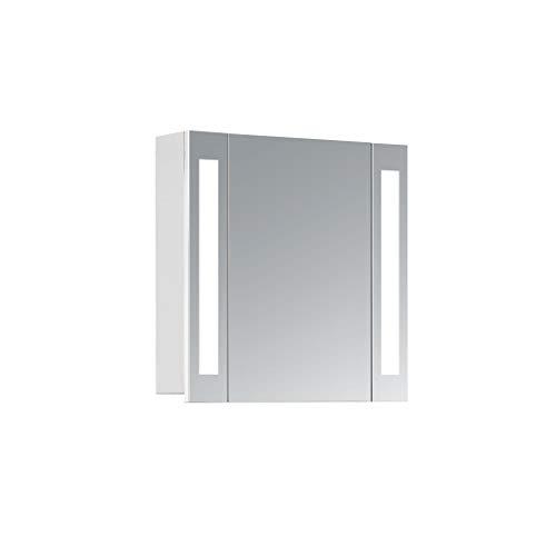 HAPA Design Spiegelschrank Venedig weiß mit LED Beleuchtung 12W 4000K, VDE Steckdose, Softclose Funktion und verstellbaren Glas Ablagen. Komplett vormontiert. SGS geprüft. (60 x 60 x 14 cm)