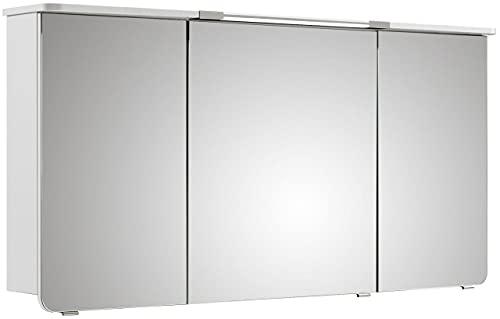 PELIPAL Cassca Spiegelschrank inkl. Beleuchtung/CS-SPS 03 / Comfort N/B: 140 cm/Weiß Glanz