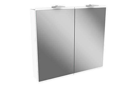 FACKELMANN LED Spiegelschrank Lima/Badschrank mit Soft-Close-System/Maße (B x H x T): ca. 80 x 73 x 15,5 cm/Möbel fürs WC oder Badezimmer/Korpus: Weiß/Front: Weiß/Spiegel