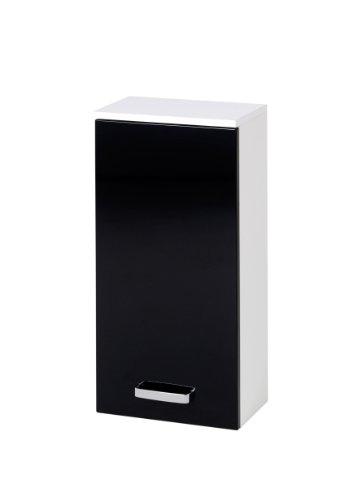 Held Möbel 012.3062 Denver Hängeschrank 1-türig, 2 Einlegeböden, 35 x 69 x 20 cm, Hochglanz-schwarz/weiß