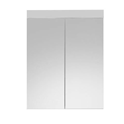 trendteam smart living Badezimmer Spiegelschrank Spiegel Amanda, 60 x 77 x 17 cm in Weiß / Weiß Hochglanz ohne Beleuchtung