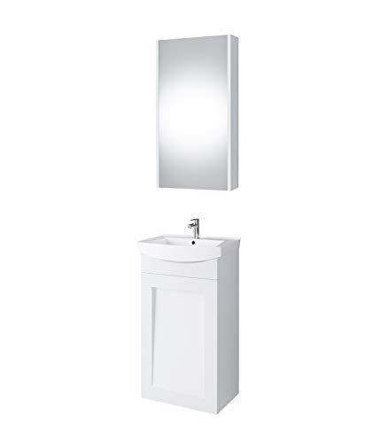 Planetmöbel Waschtischunterschrank Keramikwaschbecken Spiegelschrank Gäste WC Badmöbel Set 45cm matt (Weiß matt)