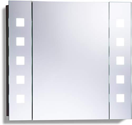 LED beleuchteter Badezimmer Spiegelschrank mit Licht (Tageslichtweiß bei 6500K) TÜV geprüft mit Antibeschlag-Pad ohne sichtbare Kabel, Steckdose, Sensor-Schalter und LED-Lichter 60cm x 65cm x12cm (HxBxT) C20