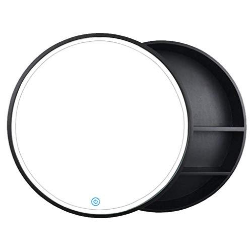 BIGYOUZI runder Spiegelschrank aus Holz mit Licht, massives Holz, Anti-Beschlag-Badspiegel/Wandmontage, runder Kosmetikspiegel (Schiebetür, schwarz, 70 x 70 cm)