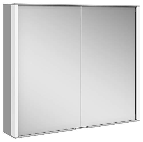 Keuco Spiegel-Schrank mit Variabler LED-Beleuchtung dimmbar, Badezimmer-Spiegelschrank, mit Aluminium-Korpus, mit 2 Türen, 80x70x16 cm Royal Match