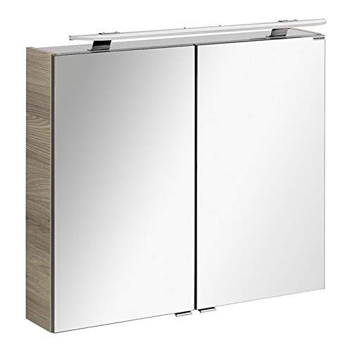 FACKELMANN LED Spiegelschrank Luxor/Badschrank mit Soft-Close-System/Maße (B x H x T): ca. 80 x 68 x 16 cm/Schrank fürs Bad mit Spiegel und LED-Aufsatzleuchte / 2 Türen/Korpus: Braun hell