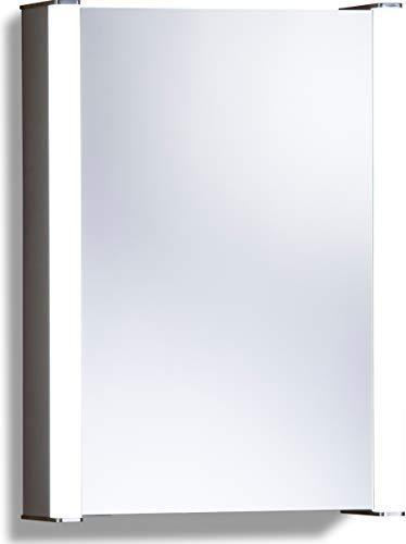 LED beleuchteter Badezimmer Spiegelschrank (Tageslichtweiß bei 6500K) TÜV geprüft mit Antibeschlag-Pad ohne sichtbare Kabel, Steckdose, Sensor-Schalter und LED-Lichter 70cm x 50cm x16cm (HxBxT) C11