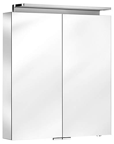Keuco Spiegel-Schrank mit Variabler LED-Beleuchtung dimmbar, inkl. Wandbeleuchtung, verspiegelter Korpus, mit 2 Türen, 65x74,2x15 cm Royal L1