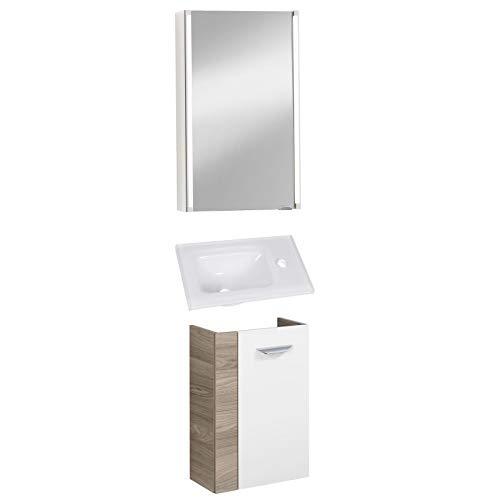 FACKELMANN helles Badmöbel Set 3-TLG. Luxor Gäste WC hängend Glaswaschbecken 45 cm & LED Spiegelschrank