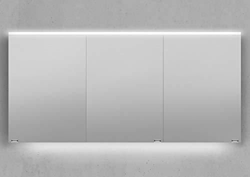 Intarbad Spiegelschrank 150 cm integrierte LED Beleuchtung doppelt verspiegelt Weiß Hochglanz Lack