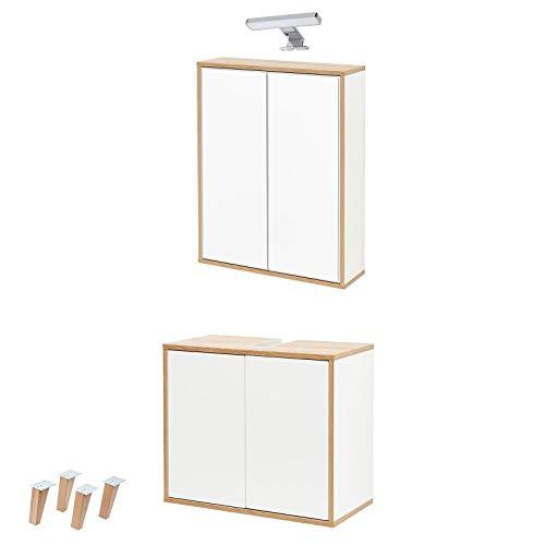 FACKELMANN weisses Badmöbel Set Finn 4-TLG. hängend-stehend 60 cm & Spiegelschrank mit LED Aufsatzleuchte