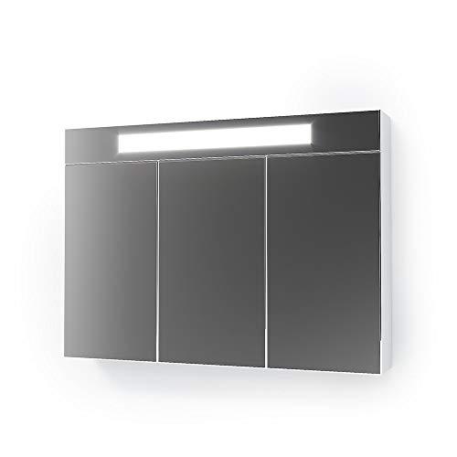 Vicco 3D LED Spiegelschrank Weiß Badschrank Badspiegel Badezimmerspiegel Beleuchtung (90 cm)