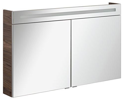 FACKELMANN Spiegelschrank B.CLEVER/zweitürig/Spiegelschrank mit gedämpften Scharnieren/Maße (B x H x T): ca. 120 x 71 x 16 cm/hochwertiger Schrank/Möbel fürs WC und Bad/Korpus: Braun dunkel
