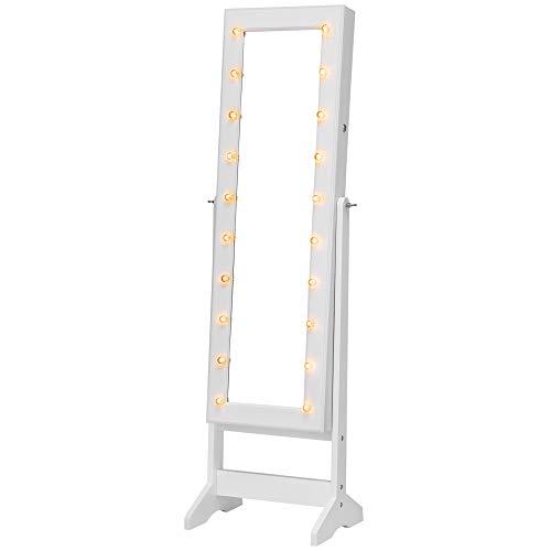 SONGMICS LED Schmuckschrank Standspiegel abschließbar stehend viel Stauraum Winkel Einstellbar Landhausstil Geschenk Weiß JBC81WT
