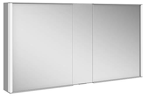 Keuco Spiegel-Schrank mit Variabler LED-Beleuchtung dimmbar, Badezimmer-Spiegelschrank, mit Aluminium-Korpus, mit 2 Türen, 130x70x16 cm Royal Match