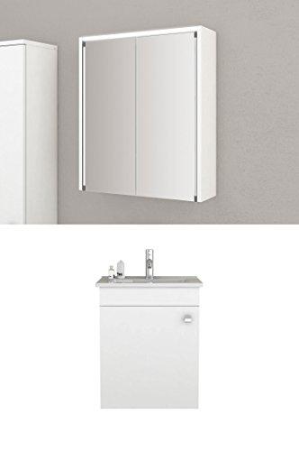 Badmöbel-Set Nelma - 55 cm breit - Weiß - Badezimmermöbel Waschtisch mit Unterschrank Spiegelschrank mit Beleuchtung Sieper Jokey