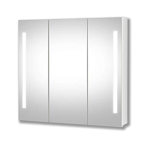 Planetmöbel LED Spiegelschrank Bad Badspiegel Spiegelschrank mit LED Beleuchtung (90 cm)