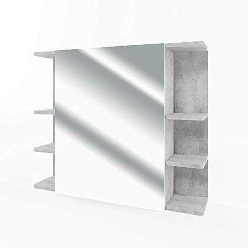 VICCO Spiegelschrank FYNN 80 cm - Badezimmer-Spiegel Hängespiegel Badspiegel Badezimmerspiegel (Beton)