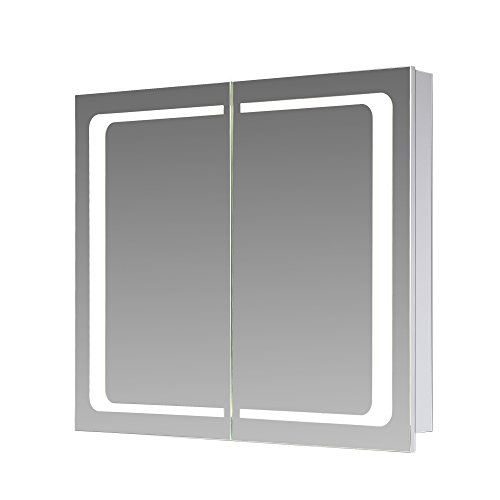 Eurosan 2-türiger Spiegelschrank, Integrierte LED-Frontbeleuchtung, Breite 60 cm, Weiß, London, L60