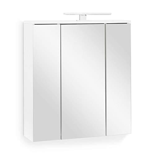 Galdem Easy Spiegelschrank 65cm Badezimmerschrank Wandschrank Badmöbel 3 Spiegeltüren 6 Einlegeböden LED Beleuchtung mit Steckdose Weiß