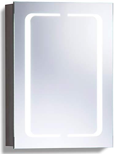 LED beleuchteter Badezimmer Spiegelschrank (Tageslichtweiß bei 6500K) TÜV geprüft mit Antibeschlag-Pad ohne sichtbare Kabel, Steckdose, Sensor-Schalter und LED-Lichter 70cm x 50cm x15cm (HxBxT) C17