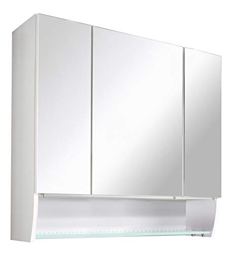 FACKELMANN Spiegelschrank SCENO/Badschrank mit 3D Effekt/gedämpfte Scharniere/Maße (B x H x T): ca. 80 x 73 x 22 cm/hochwertiger Schrank mit Spiegel & Beleuchtung / 3 Türen/Korpus: Weiß