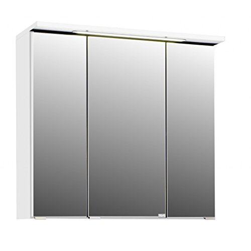 3D Spiegelschrank in 5 verschiedenen Breiten Bolina Weiss inkl. intergrierter Beleuchtung-Steckdose (breite 70cm)