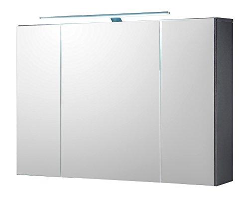 Badezimmerschrank Spiegelschrank MANI 2 | Grau | Türen | LED-Beleuchtung | Steckdose | Lichtschalter