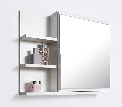 DOMTECH Badezimmer Spiegelschrank mit Ablagen, Badezimmerspiegel, Weiß Spiegelschrank, L