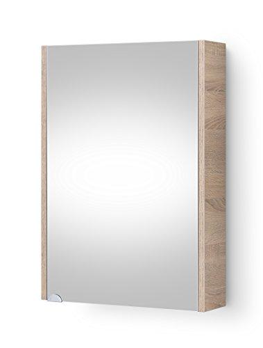 Planetmöbel Badezimmer Spiegelschrank Badspiegel Gäste WC 50cm (Sonoma Eiche)