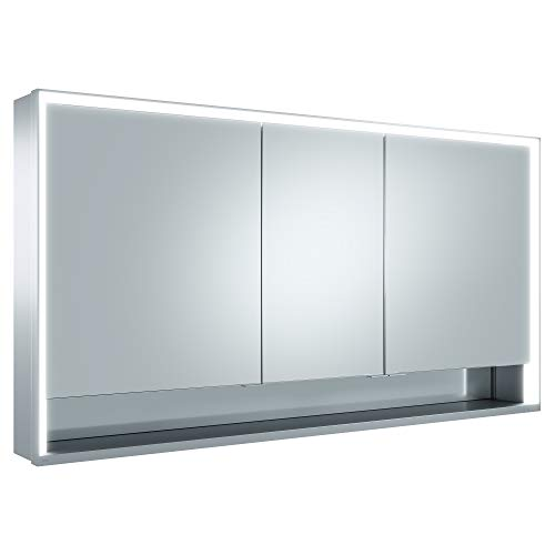 Keuco Spiegel-Schrank mit Variabler LED-Beleuchtung, Badezimmer-Spiegelschrank, mit Aluminium-Korpus, mit 3 Türen, 140x73,5x16,5 cm Royal Lumos