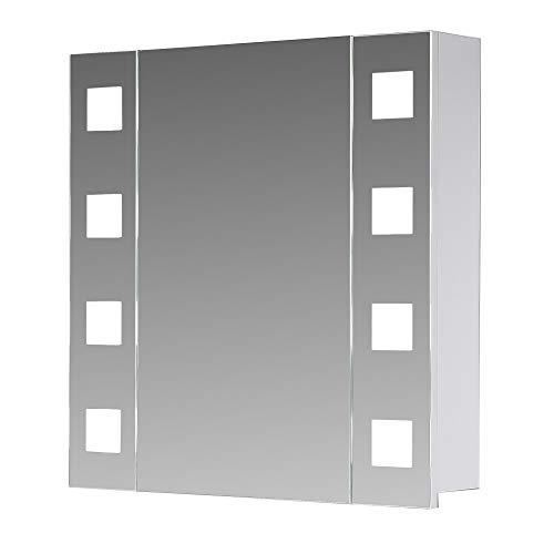 Eurosan 1-türiger Spiegelschrank, Superflach, Integrierte LED-Frontbeleuchtung, Breite 80 cm, Weiß, New York, NY80