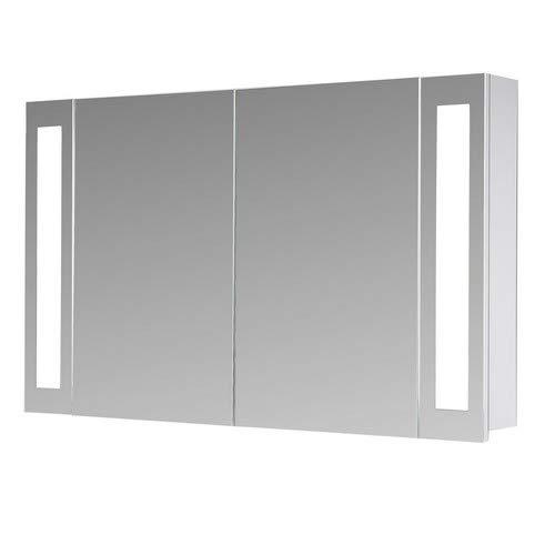 Eurosan 2-türiger Spiegelschrank, Superflach, Integrierte LED-Frontbeleuchtung, Breite 100 cm, Weiß, San Francisco, SF100