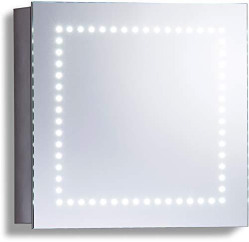 LED beleuchteter Badezimmer Spiegelschrank (Tageslichtweiß bei 6500K) TÜV geprüft mit Antibeschlag-Pad ohne sichtbare Kabel, Steckdose, Sensor-Schalter und LED-Lichter 50cm x 50cm x15cm (HxBxT) C18