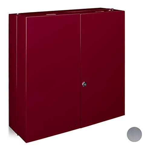 Relaxdays Medikamentenschrank Edelstahl XXL H x B x T: 53 x 52,5 x 19,5 cm mit 11 Ablagen für viel Stauraum und Türen zum Abschließen samt 2 Schlüsseln Medizinschrank im modernen Stil fürs Bad, rot