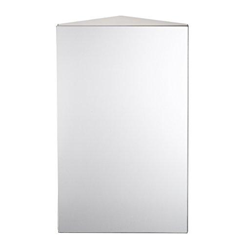 Mari Home Badezimmerschrank mit Spiegel - Edelstahl-Spiegelschrank für Ecke - Viel Platz, 4 Regale, Einzeltür - Badschrank, Medizinschrank, Badezimmerspiegel - Moderne Bad-Möbel - 300 x 500 x 175 mm