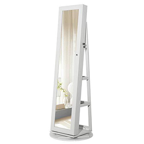SONGMICS Schmuckschrank mit 160 cm hohem Spiegel, abschließbar, um 360° drehbar, mit Leiterregal, weiß mit Grauer Maserung JBC62W