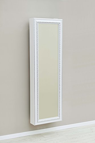 Lightclub-Shop.de Schuhschrank SCHUH-BERT 500 BAROCK WEISS drehbarer Spiegelschuhschrank Spiegel weiß Höhe 150cm