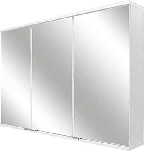 FACKELMANN LED-Spiegelschrank/dreitürig/Spiegelschrank mit gedämpften Scharnieren/Maße (B x H x T): ca. 100,5 x 68 x 16 cm/hochwertiger Schrank/Möbel fürs WC und Bad/Korpus: Weiß Glanz