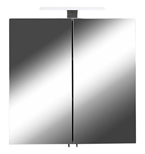 CAVADORE Spiegelschrank SHARPCUT / Eleganter Badezimmerschrank mit Spiegel 60 cm / mit Warmton LED-Beleuchtung & Steckdose / Weiß / Soft Close Funktion und integrierte Steckdose / 60x60x20 cm (BxTxH)
