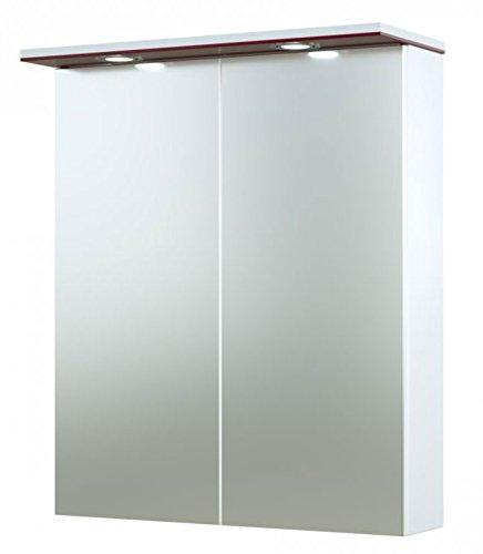 Bad - Spiegelschrank Bijapur 04, Farbe: Rot glänzend - 73 x 61 x 14 cm (H x B x T)