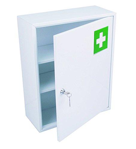 HEXOTOL Medizinschrank mit Tür, Stahl, weiß, 36x 15x 45cm