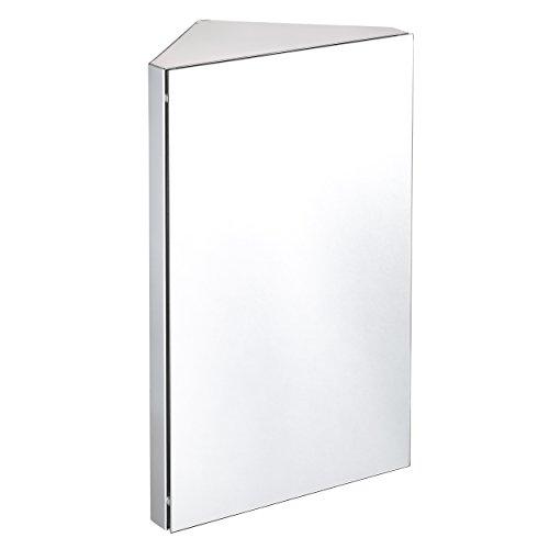 Harima-Badezimmer Spiegelschrank Eck Schrank mit Spiegel und 3Einlegeböden, Wand montiert, Rahmen aus Edelstahl