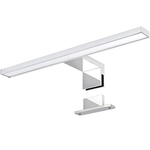 LED Spiegelleuchte 2-in-1 Aufbauleuchte/Klemmleuchte 30cm 4,5W in chrom, IP44, warmweiß 3000K - für Möbel, Spiegel und Bad