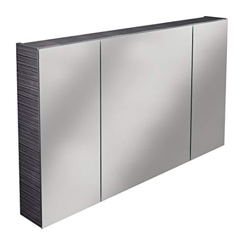 Lanzet Spiegelschrank L0 / Badezimmerschrank mit Spiegel/Maße (B x H x T): ca. 120 x 68 x 14,5 cm/Möbel fürs Bad oder WC/hochwertiger Schrank mit 3 Türen/Korpus: Schwarz/Front: Spiegel
