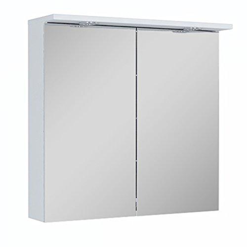 Quentis Spiegelschrank Breite 60 cm, Lichtleiste mit 2-fach LED-Beleuchtung, Unterbodenbeleuchtung, 2 Türen, beidseitig verspiegelt, Schalter-/ Steckdosenkombination