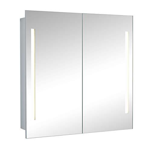 HAPA Design Spiegelschrank Paris Alu 2-türig mit LED Beleuchtung und Doppelspiegel (50x60x10cm)