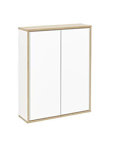 FACKELMANN Spiegelschrank Finn/Badschrank mit Push-to-Open/Maße (B x H x T): ca. 60 x 75 x 20,5 cm/Schrank fürs Bad mit 2 Türen/Korpus: Weiß/Front: Spiegel/Rahmendekor: Braun hell